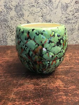 Small Sea Foam Green Planter/Vase Quilted/Splatter Pattern Stamped HP