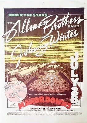 The Allman Brothers Band w/ Johnny Winter Manor Downs 79 Concert Flyer