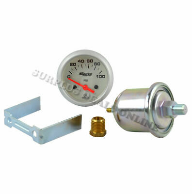 "Speco Meter Automotive Electrical Oil Pressure 2"" Gauge Silver Face #524-20"