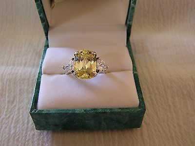 NEW Vintage Suzanne Somers Yellow Clear Large Stone Cocktail Ring 925 Sterling