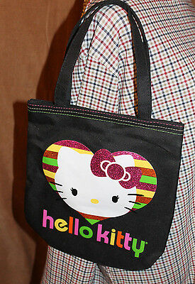 Hello Kitty New Tote Black Multi Glitter