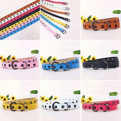 Kids Children Bright Color PU Leather Belt Adjustable Boys Girls Waistband Chic