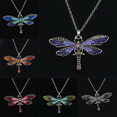 Women Charm Vintage Dragonfly Antique Wing Crystal Enamel Chain Pendant Necklace