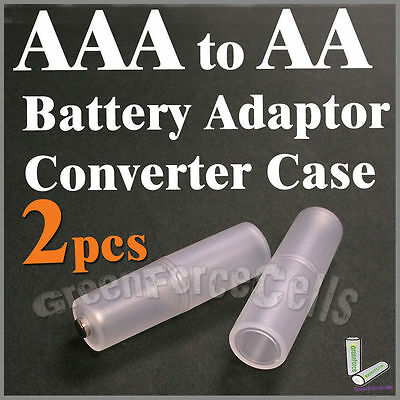 2 pcs Battery Converter Adaptor Case Holder Switcher For AAA to AA Size Cell 2A