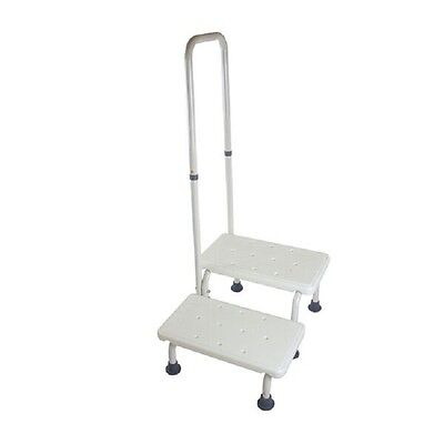 Active Living Mobility 2 Step Stool with non slip platform Fixed Hand rail