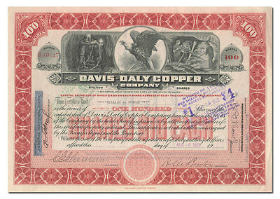 Davis-Daly Copper Company Stock Certificate (Mining Swindle)