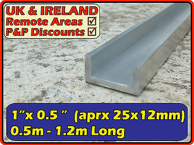 "Aluminium Channel (C U section, profile, gutter)| 1""x0.5"" (>25mm >12mm)