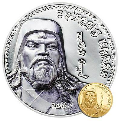 2016 Mongolia Chinggis Khaan 1oz Proof Silver High Relief Coin & 0.5g Proof Gold