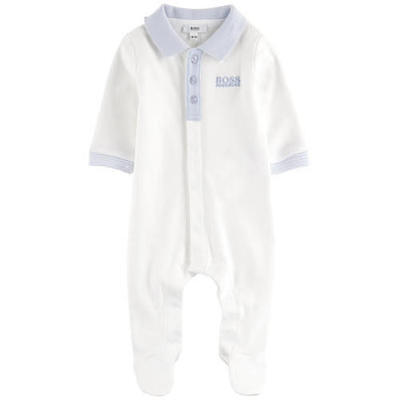 Baby Hugo Boss Shirt Collar Babygrow White 1M - 12M