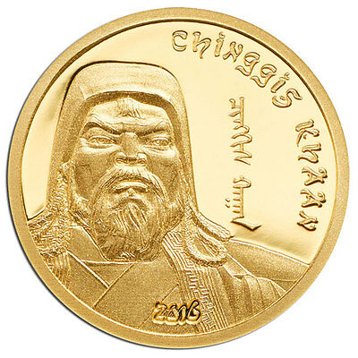 2016 Mongolia Chinggis Khaan 0.5g Proof Gold