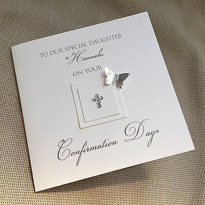 Handmade Personalised Confirmation Christening Baptism Communion Card Butterfly