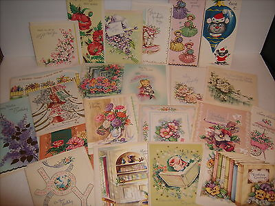 Lot of 22 Vintage Assorted Greeting Cards 1940's-50's Embossed, Die Cut, Glitter