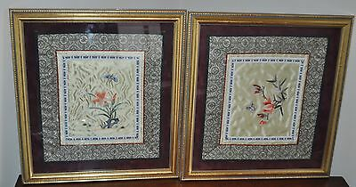 Pair of Vintage Chinese Asian Silk Embroidery Textile Art Flowers Butterfly