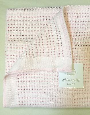 Peacock Alley Luxury Crochet Baby Blanket 100% Egyptian Cotton Pink Nwt $104