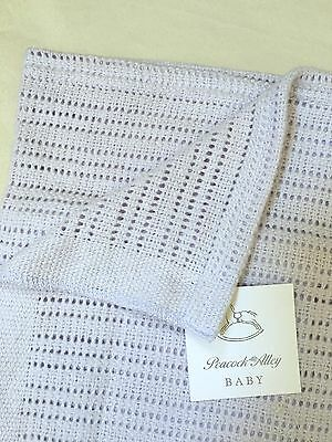 Peacock Alley Luxury Crochet Baby Blanket 100% Egyptian Cotton Lavender Nwt $104