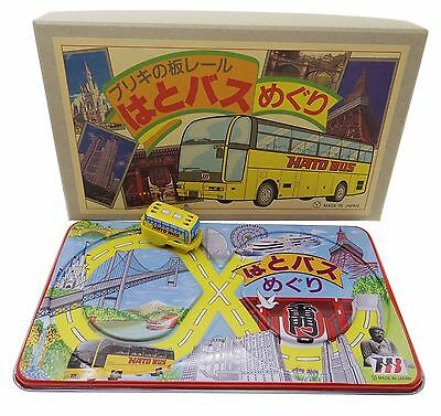 Japanese Tin Toy Wind-Up Tokyo Hato Bus with Track Base Set Made in Japan Rare