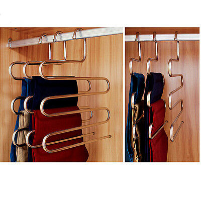2PCS Closet Organizer Trousers Pants Hanger Shirt Scarf Clothes Rack Hook  Holder