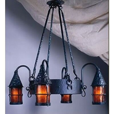 Mica Lamp Company Black Wrought Iron Chandelier LF203 4 Lantern 30""