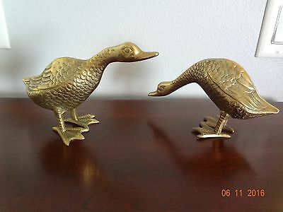 Pair of 2 Large Solid Brass Geese * Goose / Gander * Great Patina * VGUC!