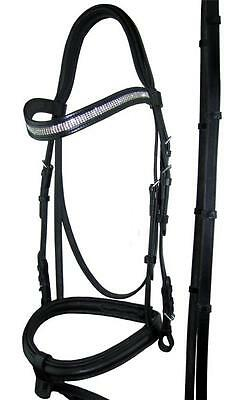 Black Snaffle Bridle 4 Lane Diamante Browband Cob or Full Size