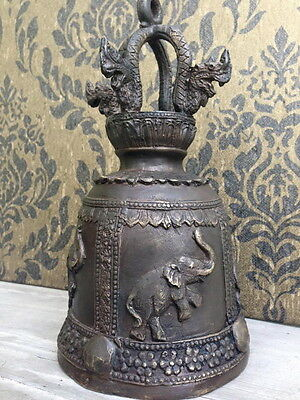 Thai Art Bell Clapper Vintage Buddha Elephant Temple Chime Wind Bronze Naga Hang
