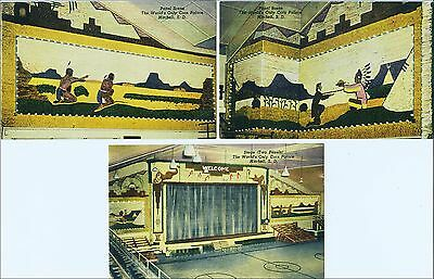 Lot of 3: Roadside Attraction: Interior Views, Corn Palace, Mitchell, SD. Linen.