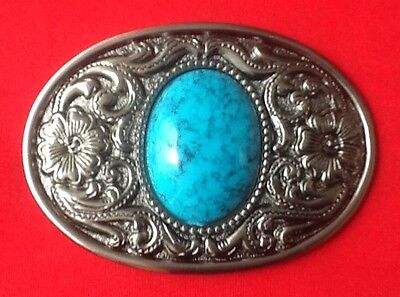 3D Blue Jewel Stone Flower Art Design Gothic Nordic Celtic Oval Belt Buckle