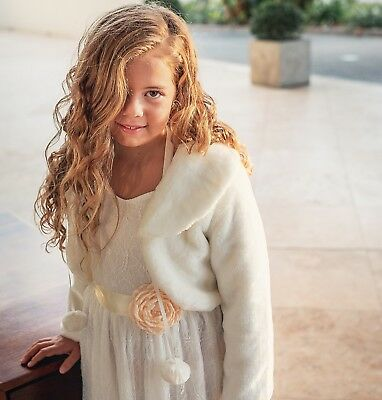 Girls Bolero Cardigan Faux Fur Jacket, Flower Girl Communion Confirmation Dress