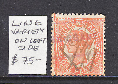 QLD 1d QV WITH LINE VARIETY TO LEFT CORNER.