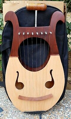 New Lyre Harp Made in RoseWood 8 Metal Strings with Tuning Key+Bag