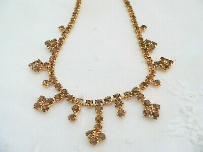 Vintage Jewellery Necklace with Cognac Crystal Rhinestone Antique Dress Jewelry