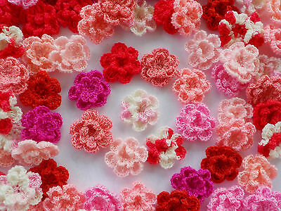100! Double Crochet Wool Flowers - Romantic Pink & Red Colour Flower Mix!