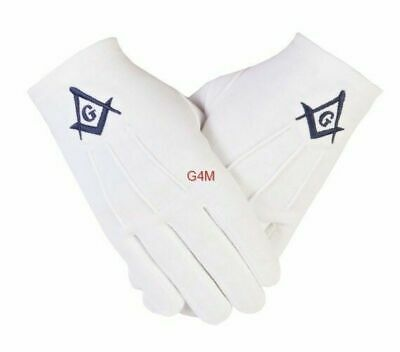 Freemasons masonic white Cotton Gloves in Navy Blue Square Compass and G