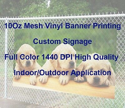 10Oz Mesh Vinyl Full Color Custom Signage Banner Printing 1440DPI High Quality