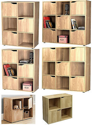 2/3/5 Door Oak 4/6/9 Cube Wooden Bookcase Storage Display Shelving Book Shelves