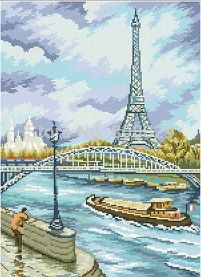 Diamond Painting-Diamant Stickerei/Malerei Diamant Bild Pariser Ufer 38x53 cm