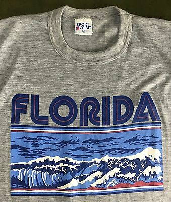 True Vintage 80s NOS/Deadstock Florida Beach Surf Waves Graphic Gray T-Shirt M