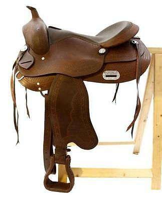 Treeless Western Saddle Nebraska, Brown, Semi Quarter, New, Oiled Leather
