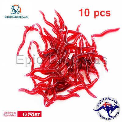 10 Pcs/Lot Artificial Soft Red Earthworm Plastic Fishing Lures