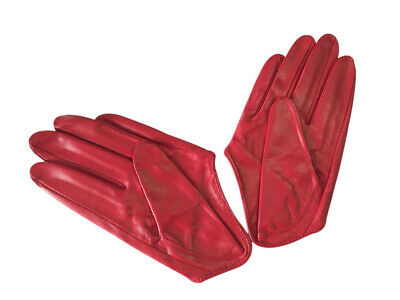 Ladies/Womens Leather Driving Gloves - Red