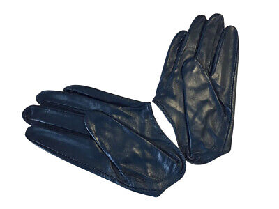 Ladies/Womens Leather Driving Gloves - Navy
