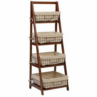 Ladder Style 4 Tier Shelf Wire Baskets Bookshelf Living Room Storage Home  Walnut