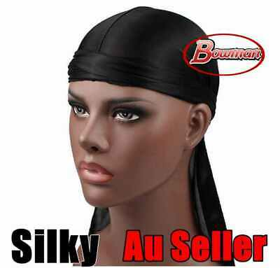 Black Silky Durags Du Rag Cap Doo Rag Skully Chef Sports Biker Hat Headwrap
