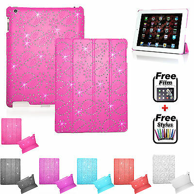 Smart BLING Magnetic Leather Case+Hard Back COVER FOR APPLE iPad 2/3/4 AIR MINI