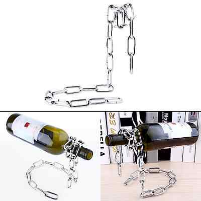 Floating Magic Chain Wine Bottle Holder Rack Illusion Stand Bar Kitchen Decor