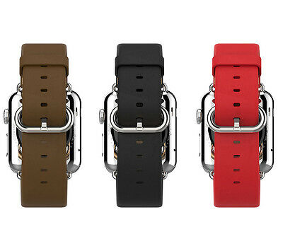 Leather Watch Band Strap Bracelet +Classic Buckle for Apple Watch iWatch 38/42mm