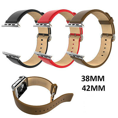 Leather Strap Bracelet Watch Band for Apple Watch iWatch 38mm/42mm + Connectors