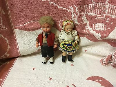 Vintage Celluloid German ? Two dolls boy & girl all original painted socks shoes