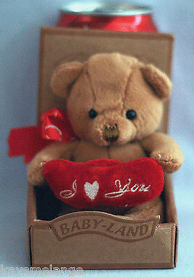 15cm Tan Bear Holding Two Joined Red Hearts - NIP