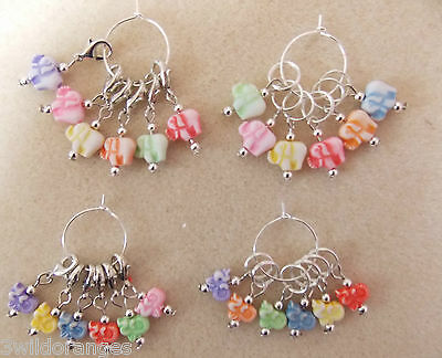Crochet Stitch Knitting Markers Set of 6 Elephants or 6 Angels